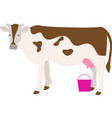cute and funny farm cow with pink bucket ready vector image vector image