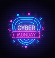 cyber monday neon sign bright signboard vector image vector image