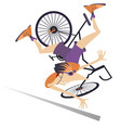 cyclist falling down from the bicycle vector image vector image