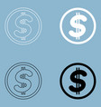 dollar in the circle the black and white color vector image