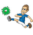 european footballer character kicks covid-19 vector image