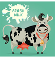funny cow and milk splash vector image