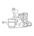 gardener shower sprinkler with boots vector image