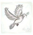 Hand drawn peace dove symbol with texture vector image vector image