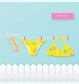 hanging bikini with sunglasses summer paper art vector image