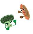 hot dog attacks broccoli fight between vegetables vector image