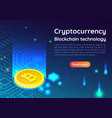 isometric web banner bitcoin on circuit board vector image