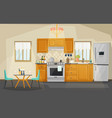 kitchen interior view fridge and oven utensil vector image