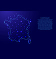 map of the france from the contours blue vector image vector image