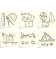 Mathematics and geometry icons and formulas on yel vector image vector image