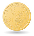 one dollar coin vector image vector image