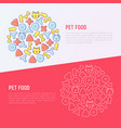 pet food concept in circle with thin line icons vector image vector image