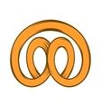 Pretzel icon in cartoon style vector image vector image