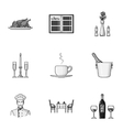 Restaurant set icons in monochrome style Big vector image vector image