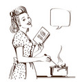 retro young woman cooking soup in her kitchen vector image vector image