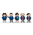 set business man cartoon cute design vector image
