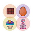 set of delicious cupcake and candies vector image vector image