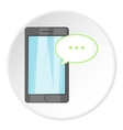 Speech bubble on phone icon cartoon style vector image vector image
