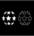 stars in shape of soccer ball icon set white vector image vector image