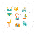 summer elements set swimsuit rollers camera vector image