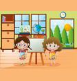 two girls with paintbrush and paint palette vector image vector image
