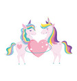 unicorns with rainbow mane heart love fantasy vector image vector image
