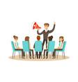business leader using loudspeaker during business vector image