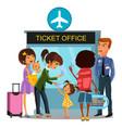 airport employee checks boarding passports vector image