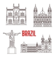 Architecture travel landmarks of Brazil vector image vector image