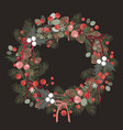beautiful christmas decorative wreath pine vector image vector image