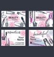 Beauty salon business card hand drawn vector image