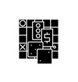 board games black icon sign on isolated vector image