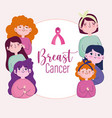 breast cancer young women cartoon with pink ribbon vector image vector image
