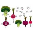 Broccoli radish and beet vegetables vector image vector image