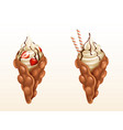 bubble waffles with strawberry and caramel vector image