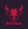 buffalo bull head logo element red on dark vector image vector image