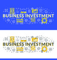 business investment flat line concept for web vector image vector image