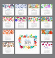 calendar 2019 floral calendar with colorful vector image