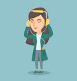 caucasian woman in headphones listening to music vector image vector image