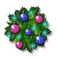 christmas sketch with decor of fir twigs with vector image vector image