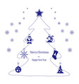Christmas toys blue on the tree vector image