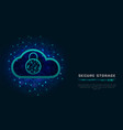 cloud cyber security concept padlock icon on vector image vector image