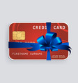 credit card with blue bow and ribbons vector image vector image