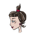 cute cartoon hipster girl face head in profile vector image vector image
