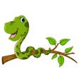 cute green snake cartoon on tree vector image vector image