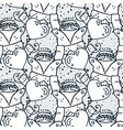 cute seamless doodle pattern fox with heart vector image vector image