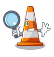 detective traffic cone on made in cartoon vector image