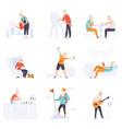 elderly people enjoying various hobbies senior vector image vector image