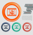 film icon on the red blue green orange buttons vector image vector image