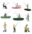 fishermen catching fish with fishing rods set vector image vector image